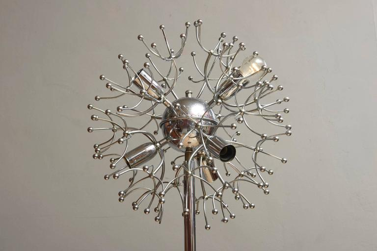 An exceptional Mid-Century Sputnik floor lamp, inspired by the Atomium in Brussels, 1958, and the Russian spacecraft in 1957. Italian chrome-plated Sputnik spider floor lamp.
