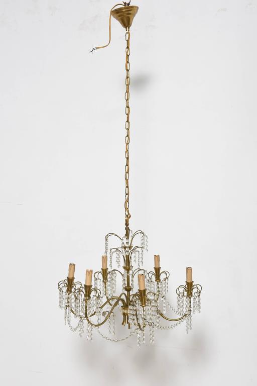 Mid-Century Modern Romantic Italian Brass, Crystal, 1950s Waterfall Chandelier For Sale