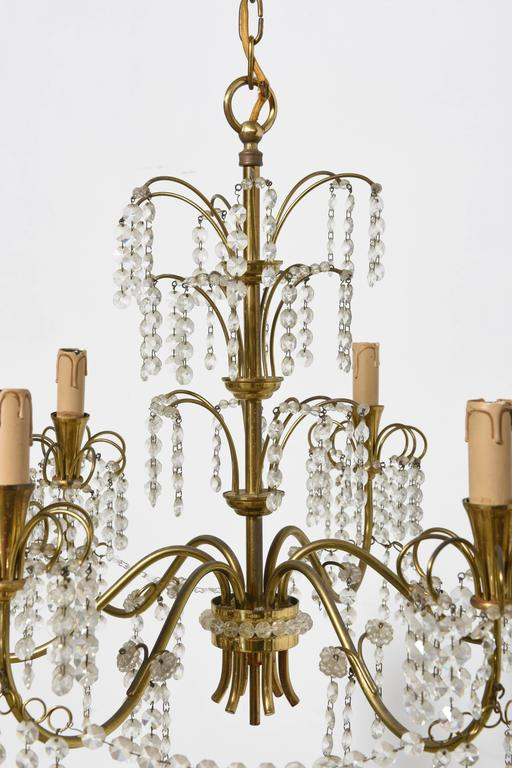 Faceted Romantic Italian Brass, Crystal, 1950s Waterfall Chandelier For Sale