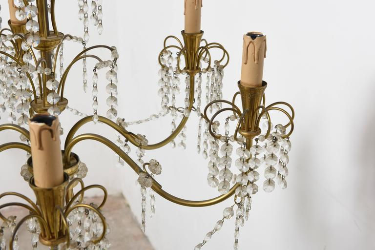 Romantic Italian Brass, Crystal, 1950s Waterfall Chandelier In Good Condition For Sale In Antwerp, BE