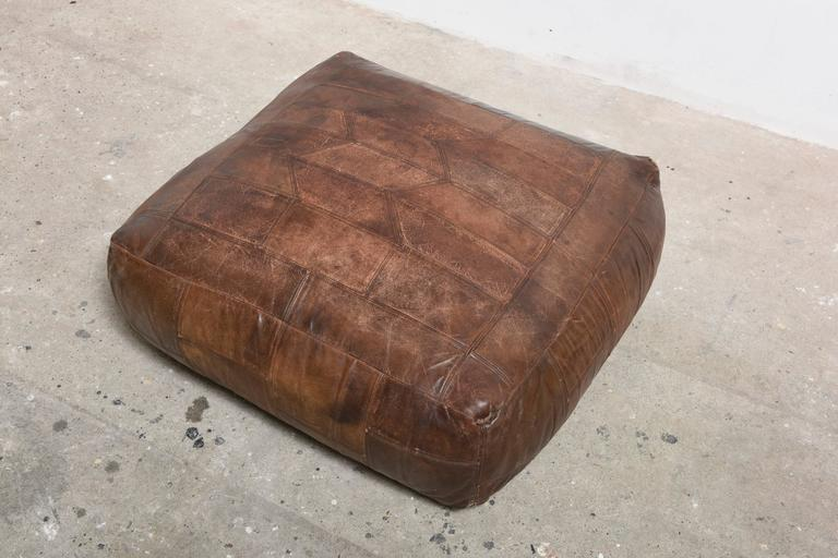 Mid Century Patchwork Ottoman In Leather From De Sede