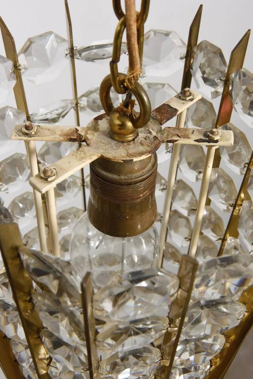 Gilt Bakalowits Crystal Pendant Lantern For Sale