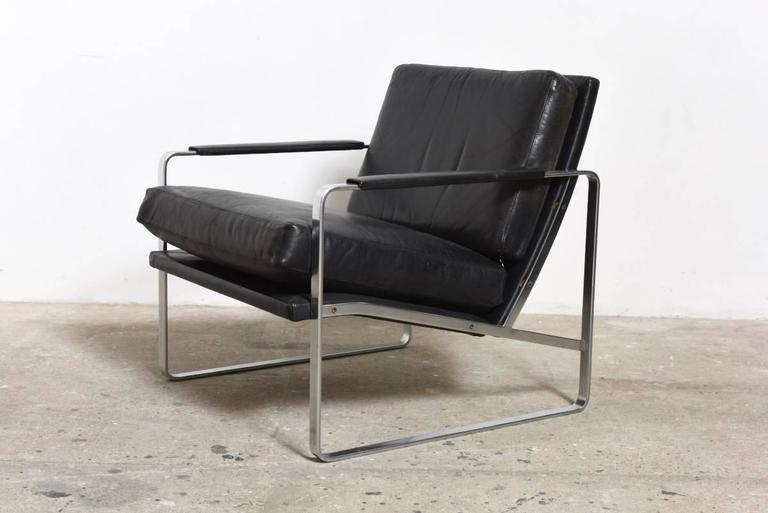 Mid Century Modern Fabricius Black Leather Armchair, Model 710 By Walter  Knoll For Sale