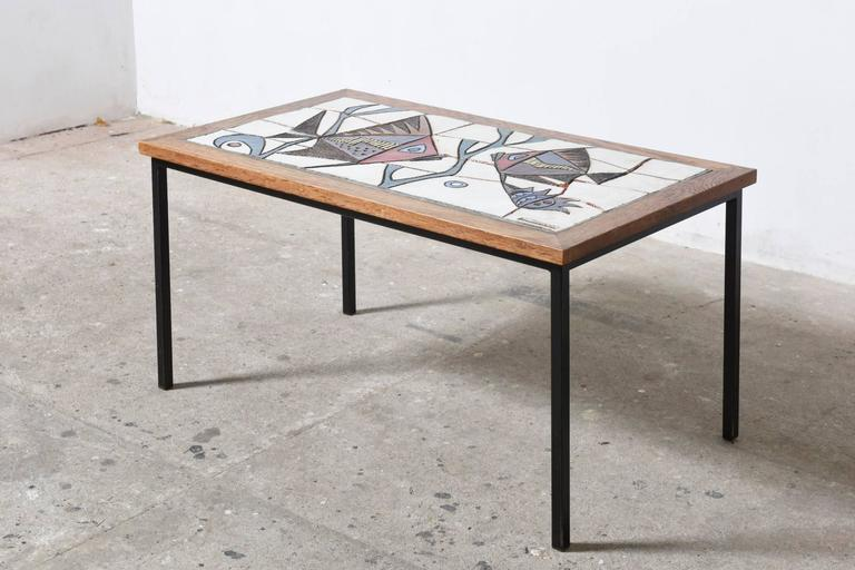 Belgian Ceramic Glazed Tiles Coffee Table Designed by Paul Vermeire, 1960s For Sale