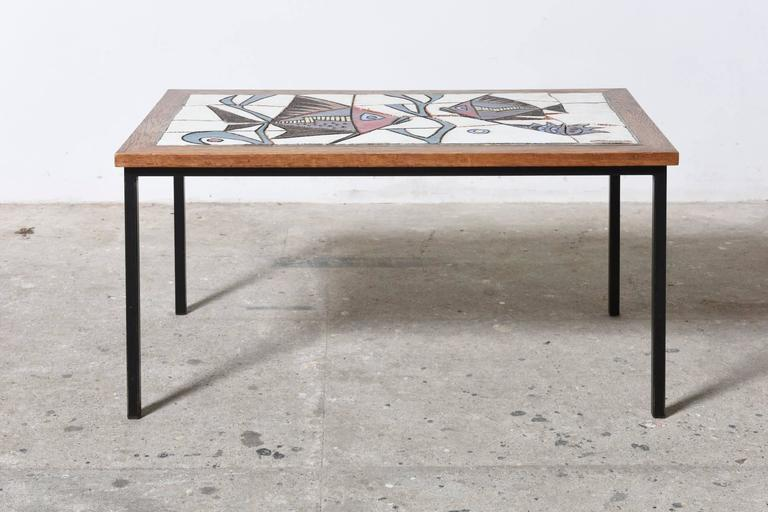 Mid-Century Modern Ceramic Glazed Tiles Coffee Table Designed by Paul Vermeire, 1960s For Sale