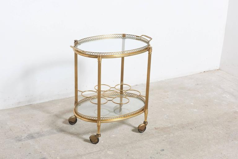 Oval Two Tiered Brass And Glass Bar And Serving Cart Or Trolley At 1stdibs