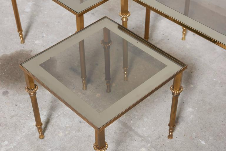 Late 20th Century Set of Three French Mid-Century Brass and Glass Nesting Tables For Sale