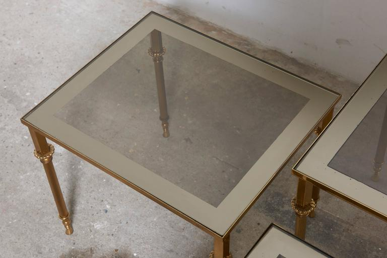 Set of Three French Mid-Century Brass and Glass Nesting Tables For Sale 1