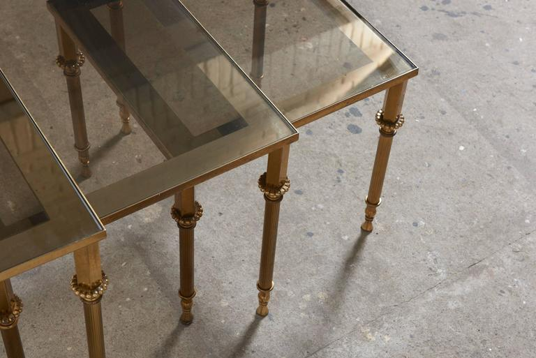 Set of Three French Mid-Century Brass and Glass Nesting Tables For Sale 2