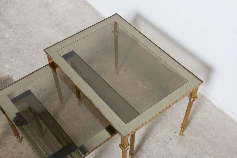 Set of Three French Mid-Century Brass and Glass Nesting Tables For Sale 3