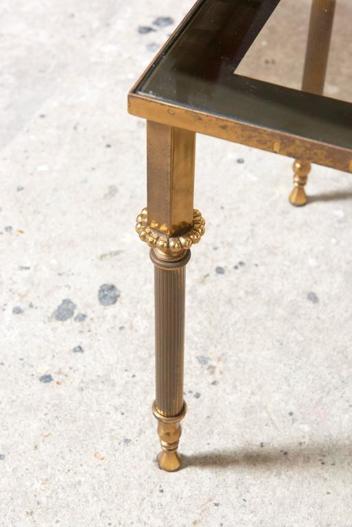 Set of Three French Mid-Century Brass and Glass Nesting Tables For Sale 4