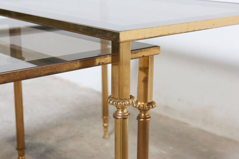 Set of Three French Mid-Century Brass and Glass Nesting Tables For Sale 5