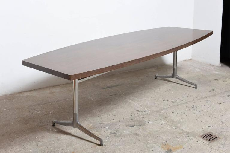 Mid-20th Century Large Wenge Conference-Dining Table, 1960s, Knoll International For Sale