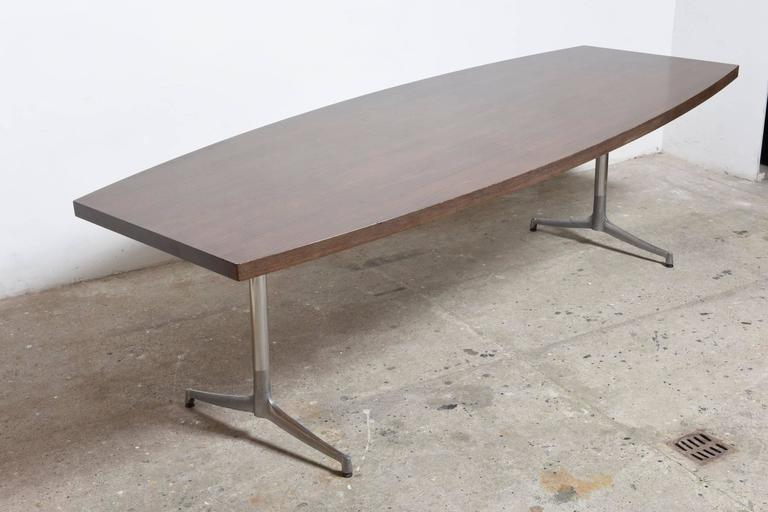 Metal Large Wenge Conference-Dining Table, 1960s, Knoll International For Sale