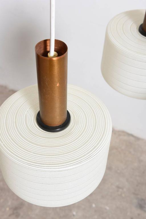 Finnish Glass-Brass Pendant Three-Light Cylinder White Stripe Shades, Tapio Wirkkala For Sale