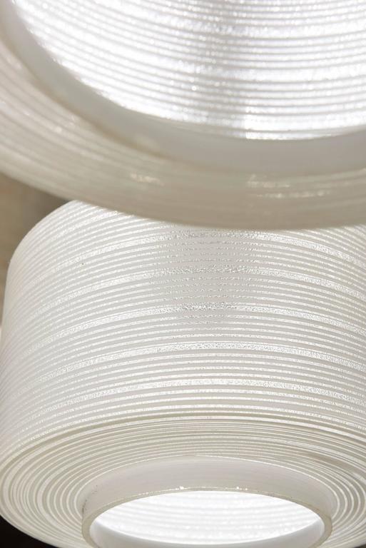 Mid-20th Century Glass-Brass Pendant Three-Light Cylinder White Stripe Shades, Tapio Wirkkala For Sale