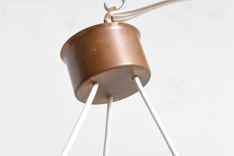Glass-Brass Pendant Three-Light Cylinder White Stripe Shades, Tapio Wirkkala For Sale 2