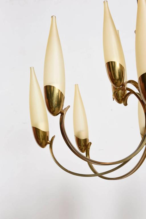 Mid-Century Modern Large Stilnovo Style Brass Sputnik Chandelier, 1950s, Modernist Design For Sale