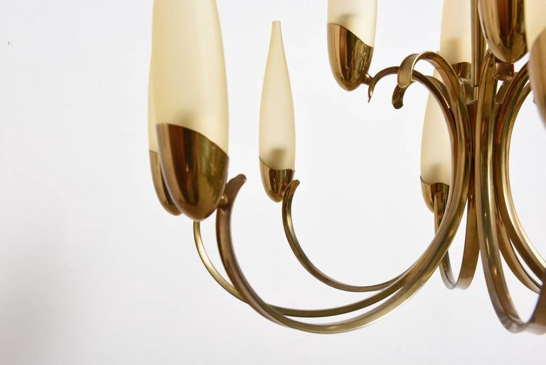 Mid-20th Century Large Stilnovo Style Brass Sputnik Chandelier, 1950s, Modernist Design For Sale