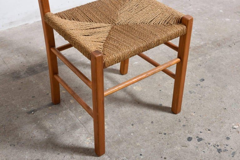 Set of Four Solid Pinewood Chairs with Rush Seat, 1950s For Sale 2