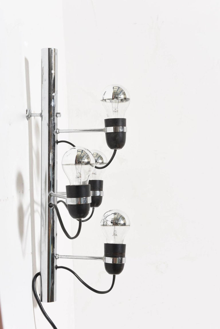 Mid-Century Modern Set of Four-Light Chrome Sconces by Gino Sarfatti for Arteluce, Italy For Sale
