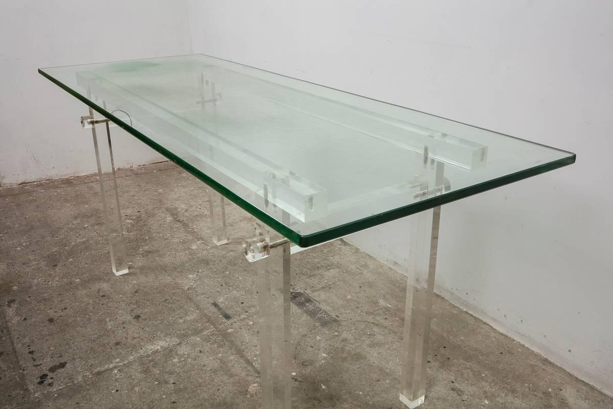 Vintage Lucite, Glass Top Dining Table, Console, ...