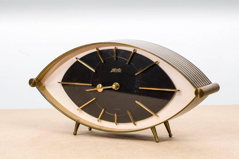 Brass Eye Table Clock Quot Atlanta Quot Junghans 1960s Germany