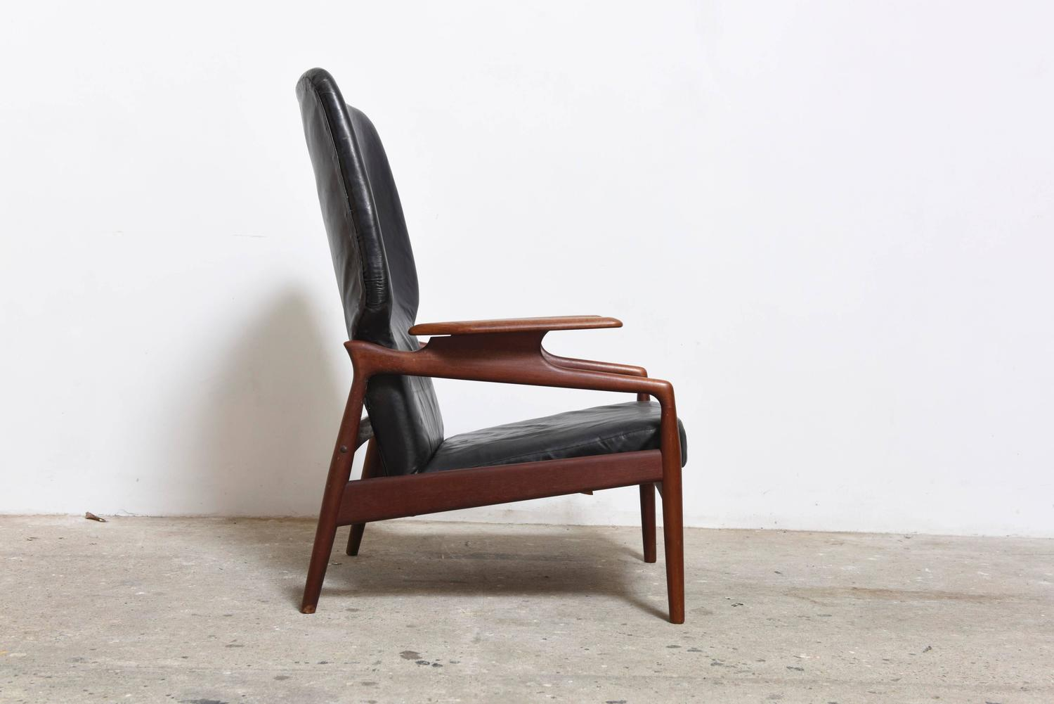 Danish Modern Reclining Lounge Wingback Chair For Sale at