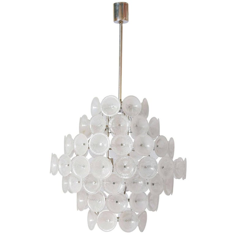 Set of Two Large Murano Discs Chandeliers, 1960s,Italy For Sale 1