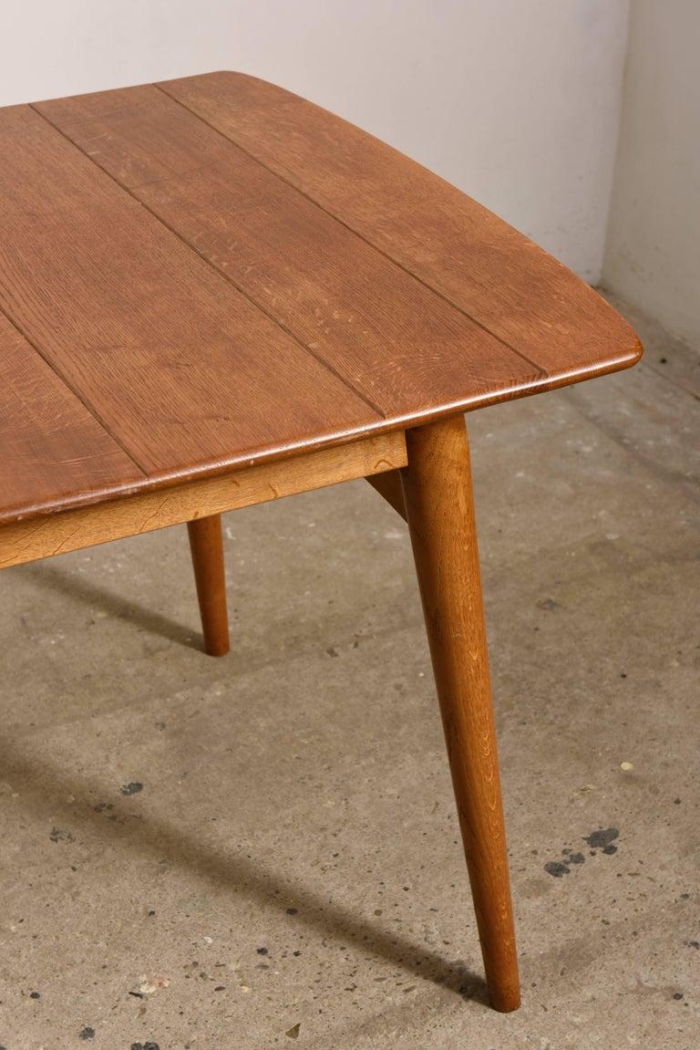 Scandinavian Modern Elegant Rare Rectangular Solid Teak Dining Table, Denmark 1950s For Sale
