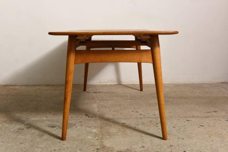 Danish Elegant Rare Rectangular Solid Teak Dining Table, Denmark 1950s For Sale