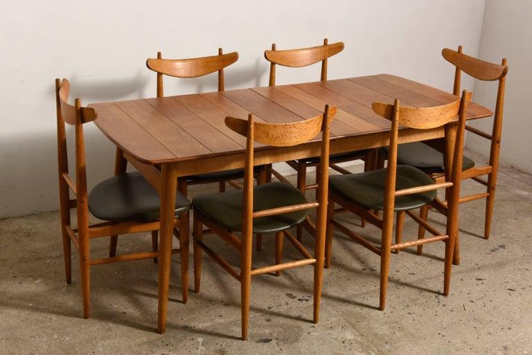 Elegant Rare Rectangular Solid Teak Dining Table, Denmark 1950s For Sale 1