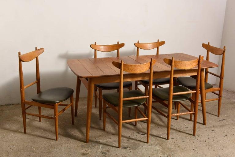 Elegant Rare Rectangular Solid Teak Dining Table, Denmark 1950s For Sale 3
