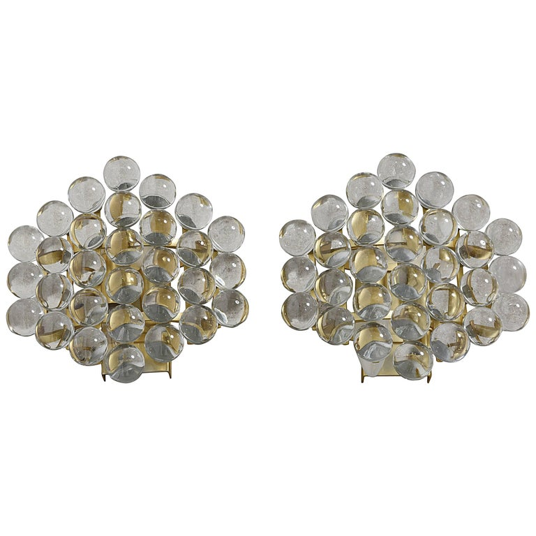 Pair of Murano Glass Balls Sconces Designed by Christoph Palme, Germany For Sale