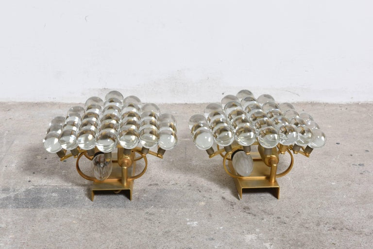 Gilt Pair of Murano Glass Balls Sconces Designed by Christoph Palme, Germany For Sale