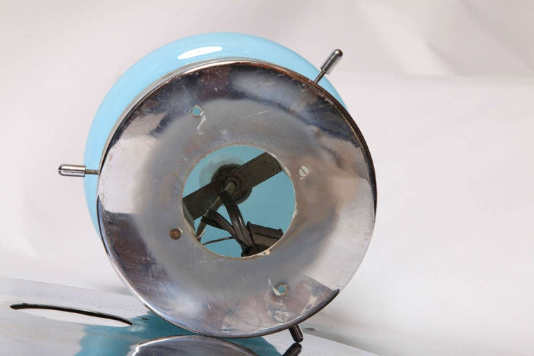 Chrome Beautiful Elegant Blue Opal Glass Flush Mount, Italy In Good Condition For Sale In Antwerp, BE