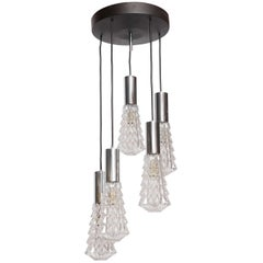 Large Cascade Light Fixture with Five-Glass Lights, 1970s, Glasshutte Limburg