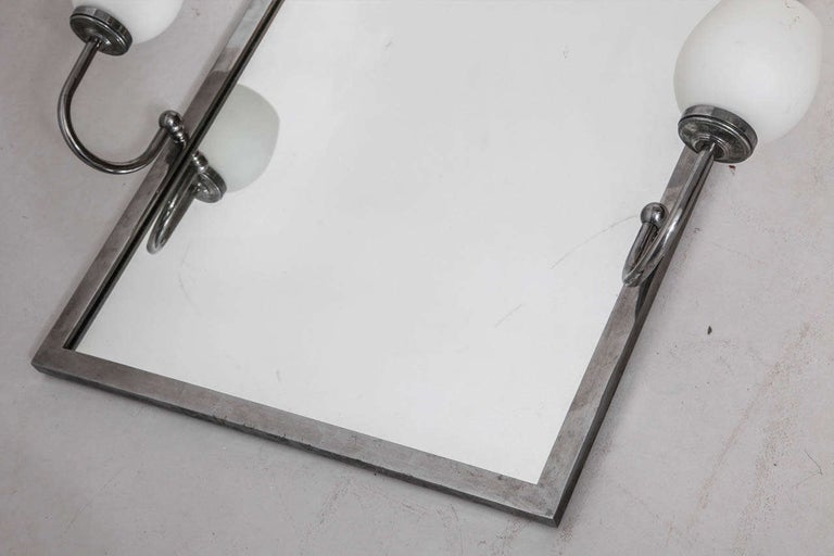 Mid-20th Century Art Deco Mirror with Opal Light For Sale