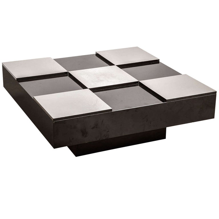 Belgian Large Square Modernist Black and White Checkerboard Low Cocktail Table For Sale