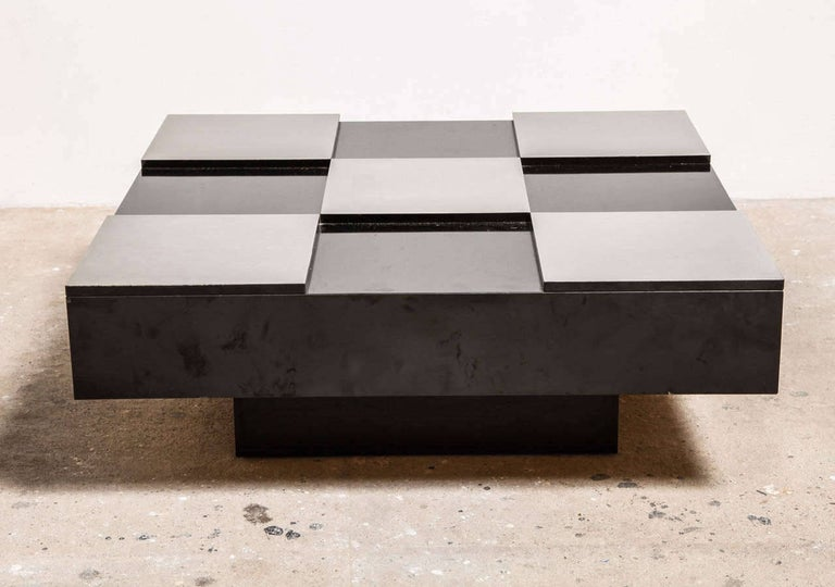 Square 1970s low coffee table with brushed aluminium sheets and black laminated plywood top, wooden base black laminated.