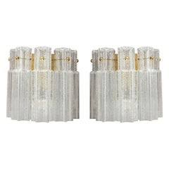 Pair of Brass Large Murano Ice Glass Sconces by Doria, Germany, 1970s