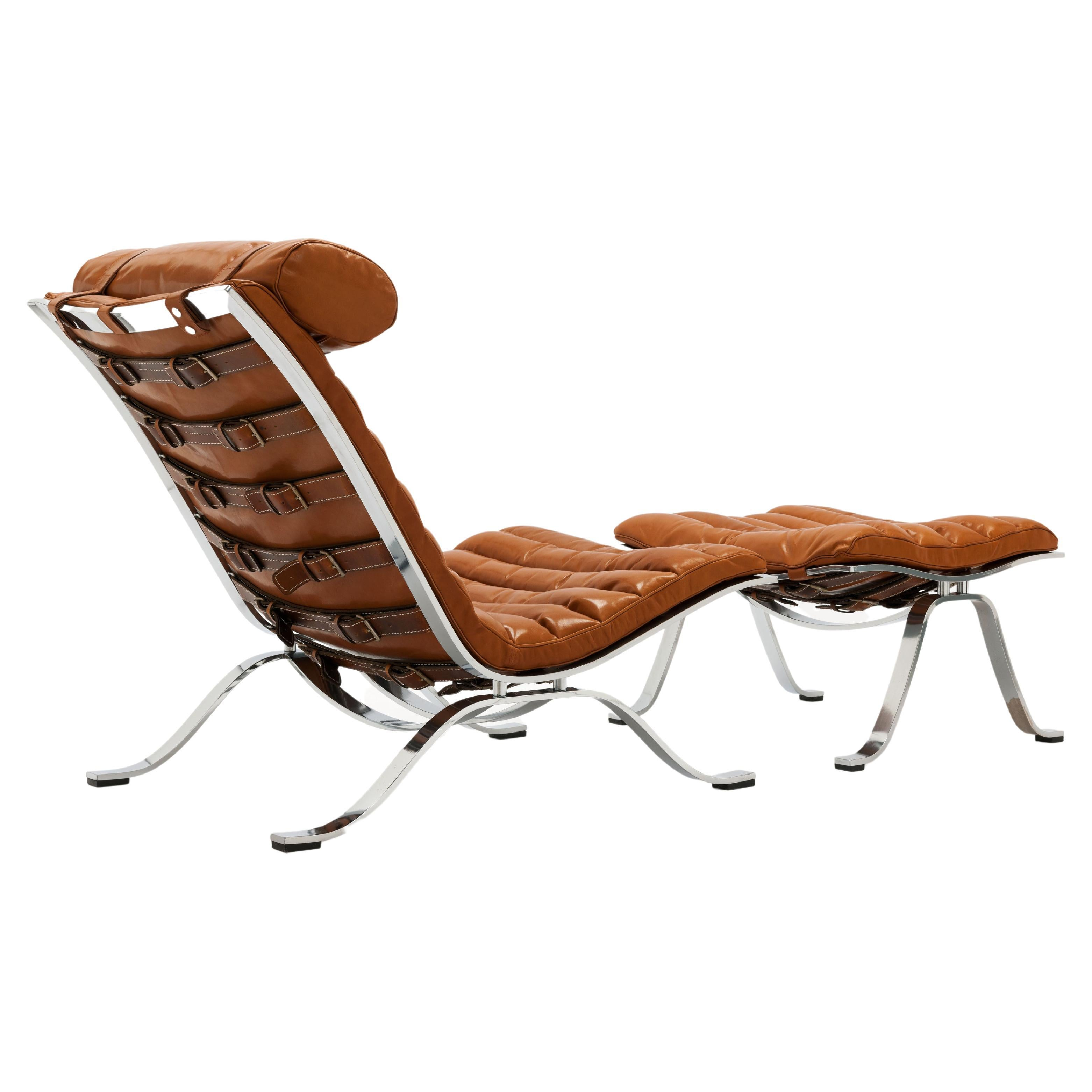 Arne Norell Ari Lounge Chair & Ottoman, New Cognac Leather