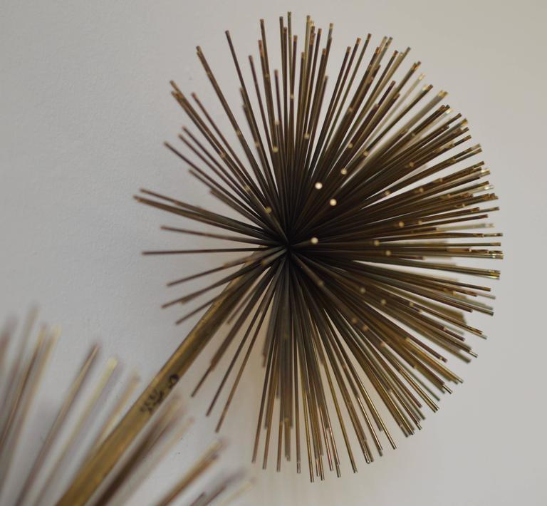 Metal Urchin Wall Decor : Curtis jere brass pom or sea urchin wall