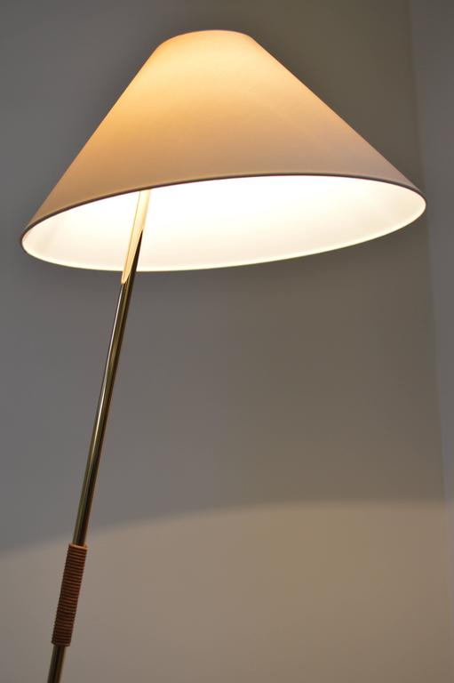 Brass And Leather Hase Bl Floor Lamp By Kalmar