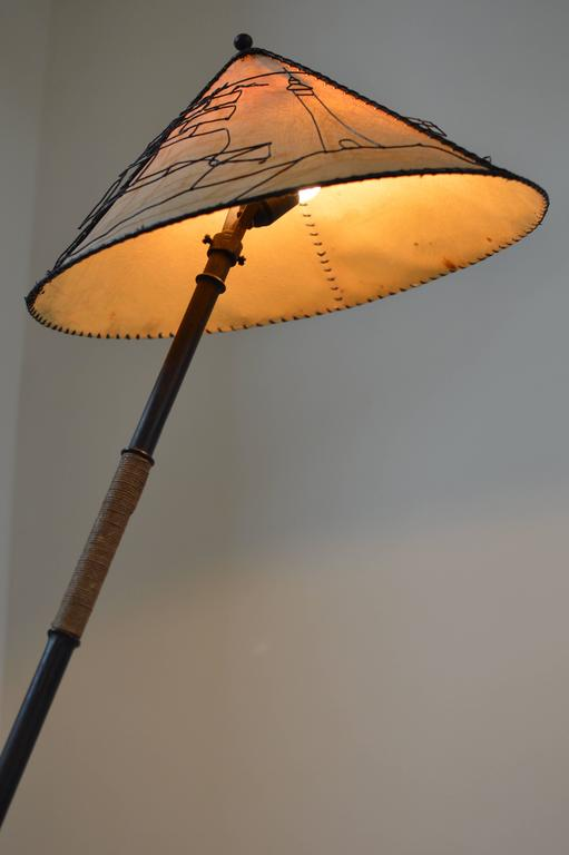 Mid-20th Century French Modern 1940s Rope Wrapped Bamboo Iron Snake Lamp, Attr. Jacques Adnet  For Sale