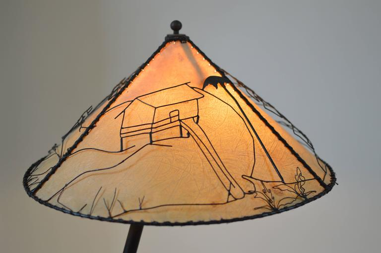 Raffia French Modern 1940s Rope Wrapped Bamboo Iron Snake Lamp, Attr. Jacques Adnet  For Sale
