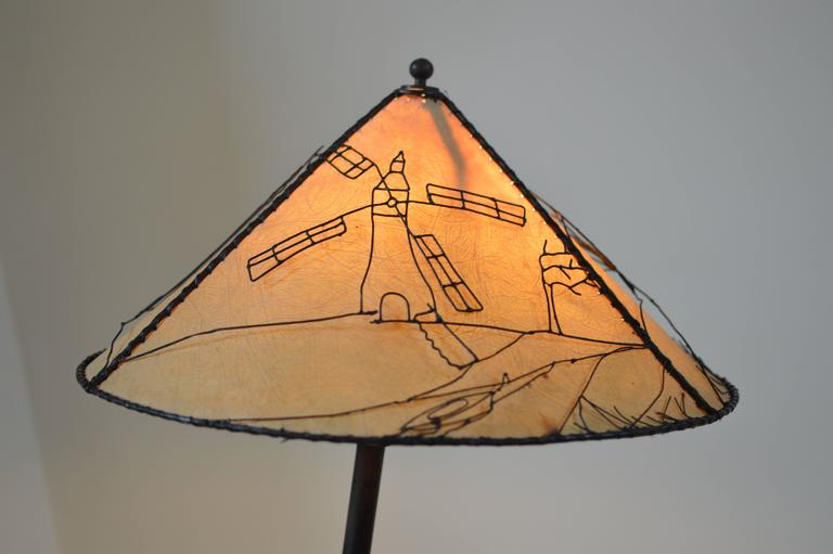 French Modern 1940s Rope Wrapped Bamboo Iron Snake Lamp, Attr. Jacques Adnet  For Sale 1