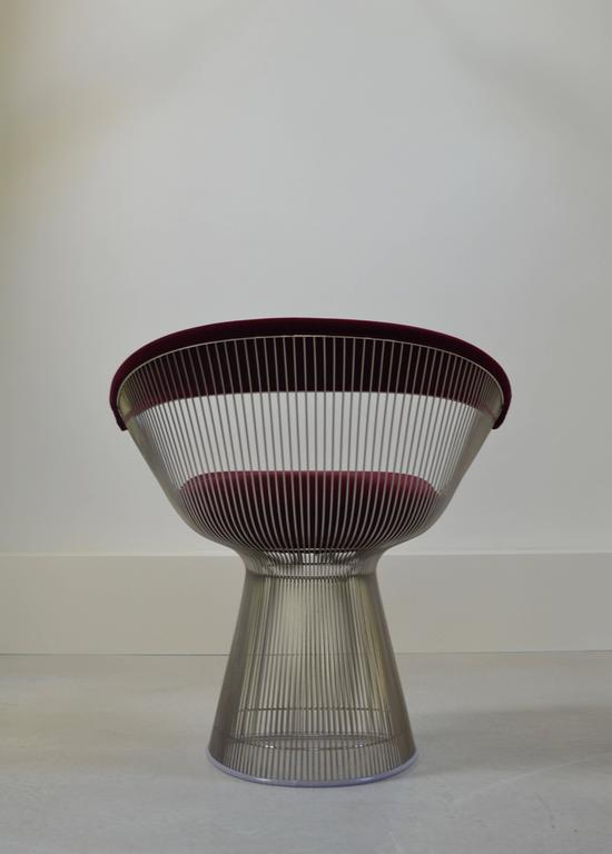 Platner Chair burgundy velvet warren platner wire chair for knoll at 1stdibs