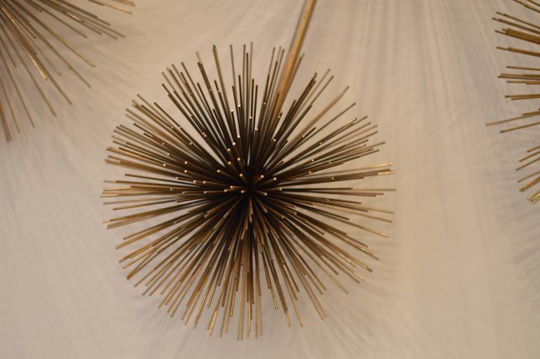 Mid-Century Modern Brass 1979 Curtis Jere Pom Pom/ Sea Urchin Wall Sculpture For Sale