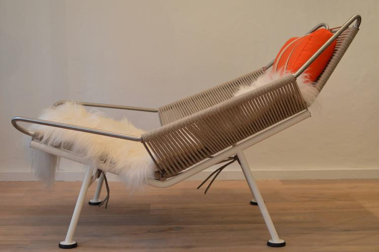 Lounge Chair Of Stainless Steel, Partially White Lacquered, 240 Metres  Specially Developed Flag Line